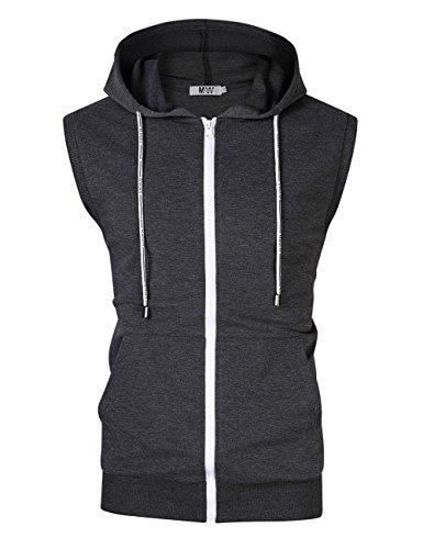 MrWonder Men's Casual Fit Long Sleeve Lightweight Zip up Pullover Hoodie Sweatshirt with Kanga Pocket (XL, Sleeveless Dark Grey) (Slim Lightweight Pullover)