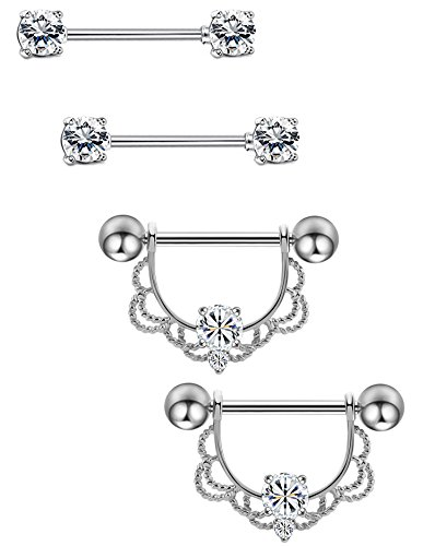 Masedy 2 Pairs 14G 316L Stainless Steel Nipplerings Nipple Tongue Rings Barball CZ Body Piercing Silver (Shaped Barbell Body Jewelry)