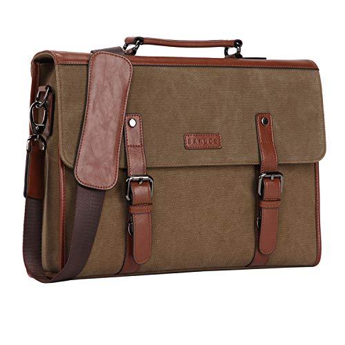 BANUCE Laptop Messenger Bag Vintage Mens Canvas Briefcase Bu