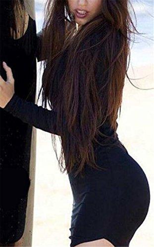 Vestito Donne Maniche Nero A Lunghe Girocollo Jaycargogo Puro Sottile Colore Irregolare YZqnxwxCPf