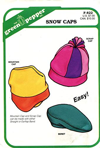 Green Pepper F823 Snow Caps & Beret Sewing Pattern Child & Adult Size S M L