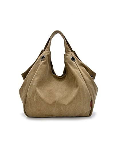 Oath_song Women's Ring Detail Slouchy Canvas Tote Hobos Bag Shoulderbag (khaki)