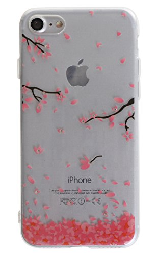 iPhone 7 Case, Bling Bling Delicate Tiny Crystal Floral Pattern Case [Embedded Crystal Diamond] Never Fall - Soft TPU Protective Back Cover Case with Lovely Cherry Blossoms (Tree Falling) Embedded Crystal