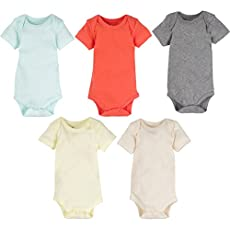 5-Pack Solid White or Unisex Neutral Color 100% Cotton MiracleWear Baby Bodysuits by Miracle Blanket