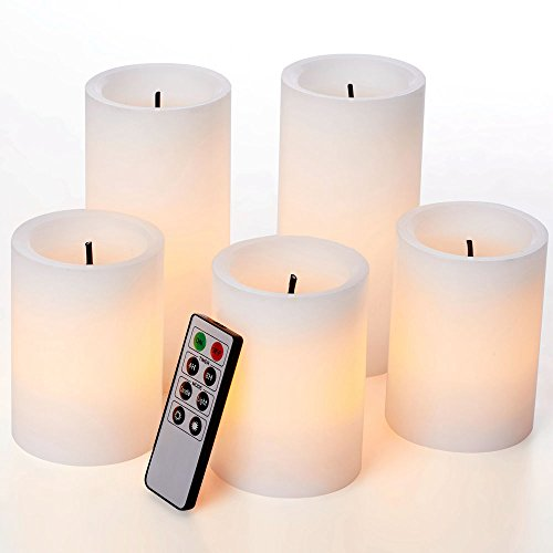 glowiu Faux Wick Flickering Flameless Candles, Christmas Pillar Candles Set of 5(H4-3pc & H6-2pc x D3) with 8-Key Remote Multi Function (White)