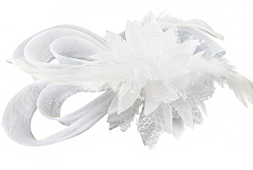 [Anita Women's fascinators Small hairpin feather hat (One size, White)] (White Top Hat Fascinator)