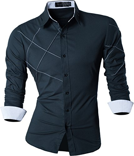 Sportrendy Men's Slim Fit Long Sleeve Casual Button Down Dress Shirt JZS044 Navy M]()