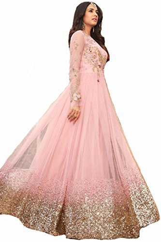 ziya Ready Made Net Latest Embroidered and with Beautiful Anarkali Designer Salwar Kameez Maisha (Light Pink, L-42)