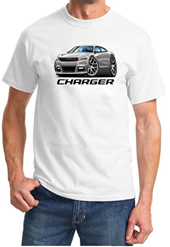 2015-18 Dodge Charger Full Color Design Tshirt Medium White (Difference Between Dodge Charger Rt And Srt8)