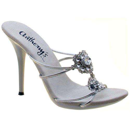A-507 Sandali Da Donna Con Pietre Di Cristallo E Moda Clubwear. Argento