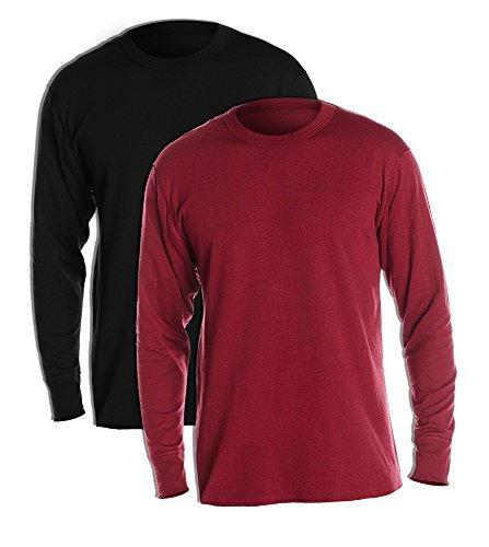 Duofold KMW1 Men's Midweight Thermal Crew Large 1 Black + 1 Bordeaux Red (Duofold Jersey Cotton)