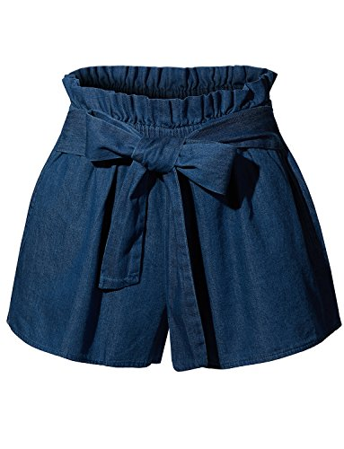 RK RUBY KARAT Womens Casual High Waisted Belted Denim Shorts with Pockets by RK RUBY KARAT