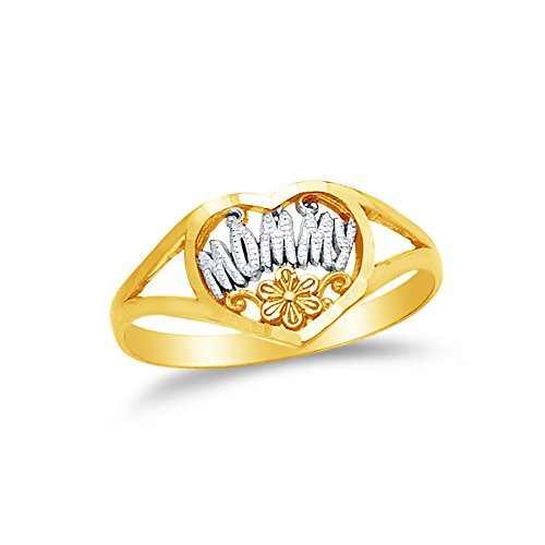 (Size - 4.5 - Jewel Tie Solid 14k Two Toned Gold Mothers Mommy Heart Flower Ring)