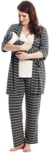 Everly Grey Analise 5 Piece Maternity and Nursing PJ Pant Set with Matching Baby Gown and Hat
