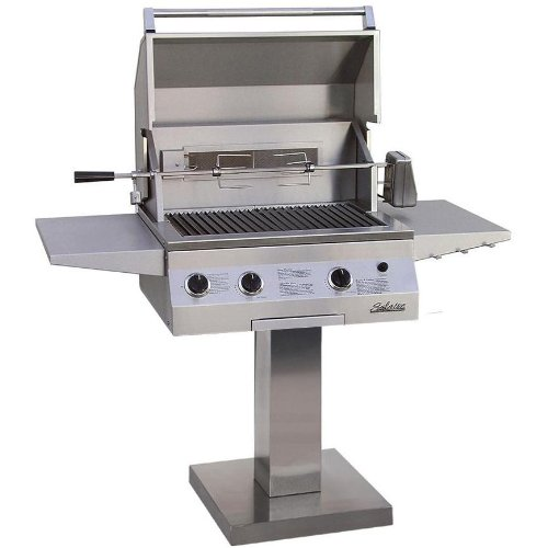 Solaire 27 Inch Deluxe Infravection Natural Gas Grill With Rotisserie On Bolt Down Post - -