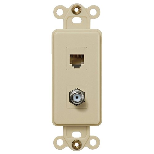 Single Coax and Single Phone Jack Rocker Insert Wallplate, - Jack Ivory Phone
