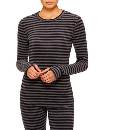 ClimateRight by Cuddl Duds Stretch Fleece warm underwear Long sleeve top(stripe) (XX-Large) by Cuddl Duds