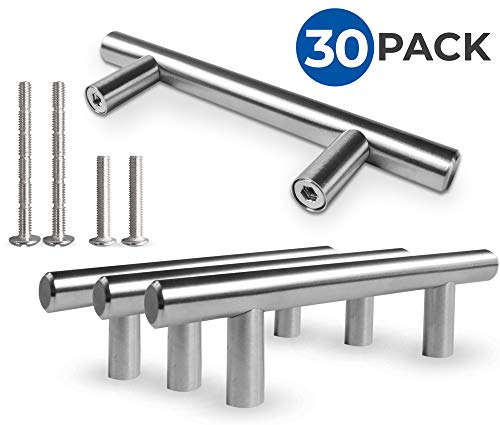 Kitchen Cabinet Door Handle Set: Modern Satin Nickel Stainless Steel Handles For Cabinets, Cupboards and Drawers - Silver T-Bar Pulls With 2 Mounting Screw Sets - 5