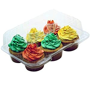 "Premium Clear Cupcake Container Boxes - 4"" High Dome with 6 Slot/Compartment - Durable Cup Cake Carrier Holder for Large Cupcakes - Set of 12"