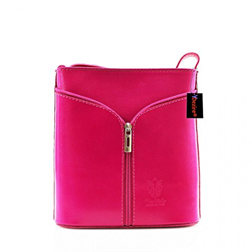 Womens Designer Real Leather Cross Body Bag Ladies Shoulder Handbag New Fuchsia