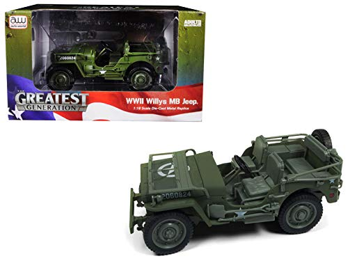 (1941 Willys MB Jeep WWII Army Olive Green Drab 1/18 Diecast Model Car by Autoworld AWML001 A)
