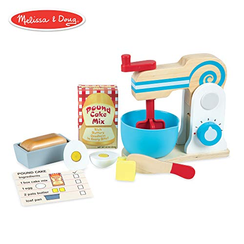 Melissa & Doug Wooden Make-a-Cake Mixer Set (Kitchen Toy, Numbered Turning Dials, Encourages Creative Thinking, 11-Piece Set, 13.5″ H × 10″ W × 5″ -