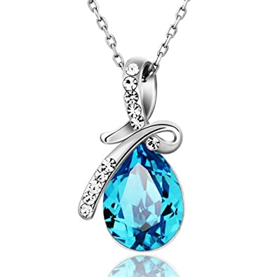 Buy Ananth Jewels Swarovski Elements Tear Drop Blue Austria Crystal Pendant  Necklace for Women Online at Low Prices in India   Amazon Jewellery Store  ... 9170d1059d