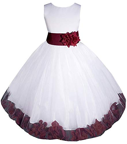 AMJ Dresses Inc Little-Girls' White/Burgundy Flower Girl Dress E1008 Sz 6