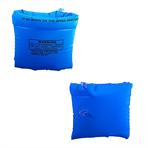 mofek Inflatable Swim Rollup Arm Bands Floatation Sleeves Swimming Rings Floats Tube Armlets for Adult (Blue)