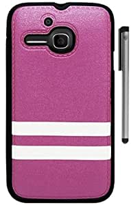 For Alcatel One Touch Evolve Stripes Design Tpu Phone Cover Case with Stylus Pen and ApexGears Phone Bag (Purple White)