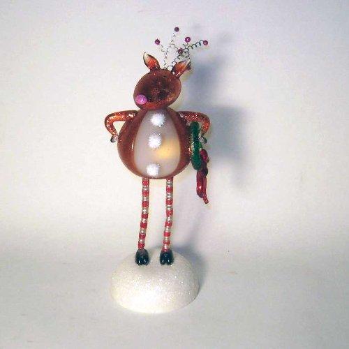 Christmas Glow Heart Glitter Reindeer Bobble Head