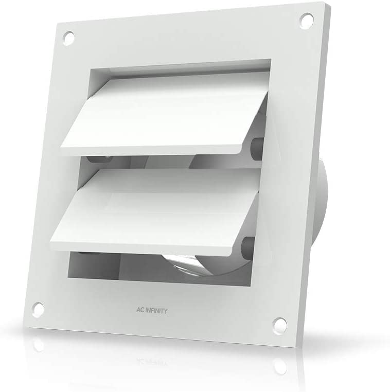 """AC Infinity Wall Mount Duct Shutter, 4"""" Outdoor Louver Gable Vent Hood for Home Attic Grow Tent HVAC Systems"""