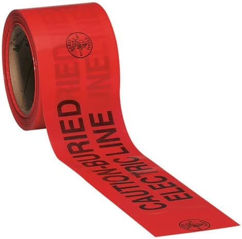 B0000302VT Klein Tools 58002 Caution Barricade Warning Tape, 3-Inch x 200-Foot: CAUTION-BURIED ELECTRIC LINE 41HM16mqcTL