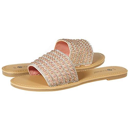 Chatties By Sara Z Womens Open Toe Crystal Rhinestone Pearl Slip-On Flat Slide Sandal Flip Flop Size 7/8 Blush