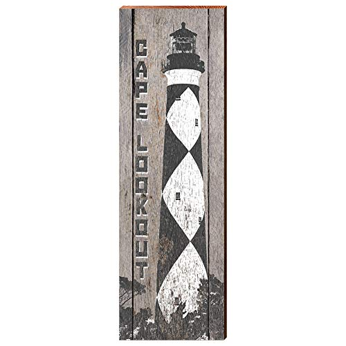Cape Lookout Lighthouse Black and White Home Decor Art Print on Real Wood (9.5