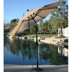 9 Market Umbrella – Beige Auto-Tilt Feature, Durable Sunbrella Fabric Umbrella Base Not Included 11492374