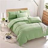 ZT-HOME Solid Color Duvet Cover,100% Cotton Double Bedding Sets,Flannelette Duvet Cover Set Printed Pattern Girl cot Bedding Sets-Light Green-Full