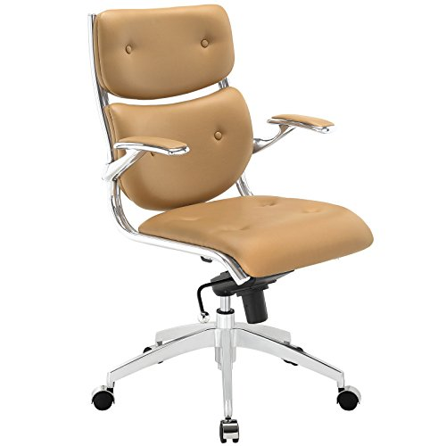 Modway Push Faux Leather Managerial Office Chair With Buttoned Detail in (Buttoned Leather)