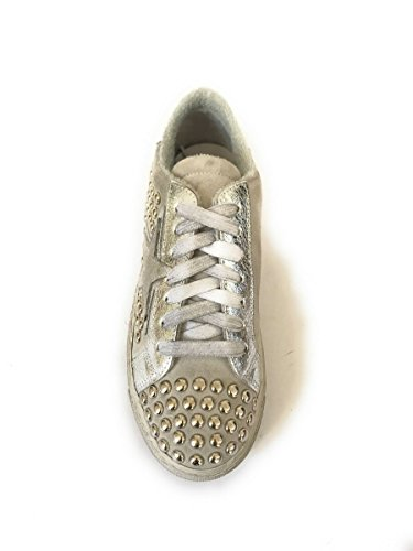Nero Basse Made Vintage Sneakers Zeta Mainapps Italy Borchiate Pelle In Bianco Shoes 64SqwB