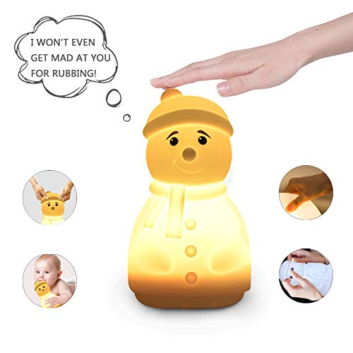 (YHTechnology Nursery Bluetooth Music Speaker with Night Light, Cute Snowman Portable and Rechargeable Baby Lullaby Soother Best Gift for Children's Day)