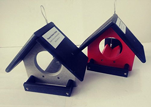 (Green Meadow 2 Peanut Butter Jar Bird Feeder Amish Handmade Red/Black Gray/Black Measures: 8