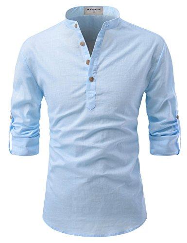 NEARKIN (NKNKN350 Beloved Men Henley Neck Long Sleeve Daily Look Linen Shirts Sky US L(Tag Size L)