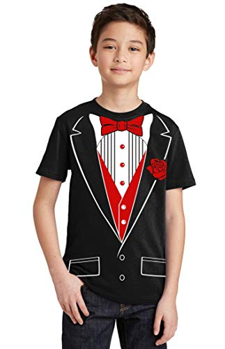 P&B Tuxedo Red Rose Funny Youth T-shirt, Youth M, Black