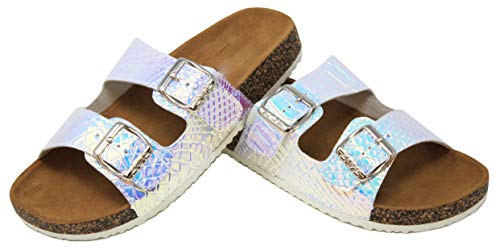 MVE Shoes Women's Open Toe Strappy Flat Sandals - Comfort Summer Cork Slide Sandals - Sotf Footbed Sandals-Strappy Buckle Cork Sole Flip-Flop-Sandals, UNICORN-100 White 9]()