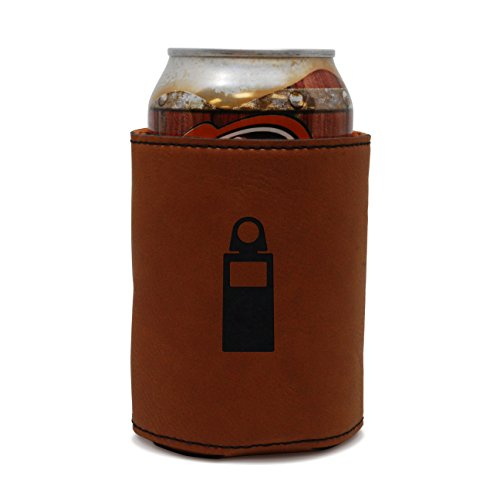 MODERN GOODS SHOP Leather Beer Coozie With Photometer Engraving - Oil, Stain And Water Resistant Beer Hugger - Standard Size Beer And Soda Can ()