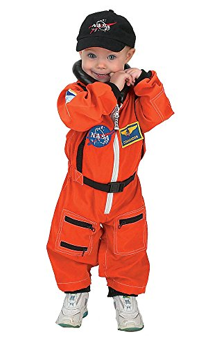 Aeromax Jr. Astronaut Suit with Embroidered Cap and NASA patches, ORANGE, Size 18 -