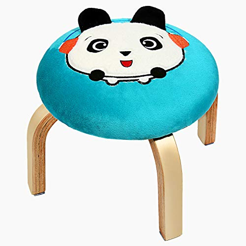 Decinysea Modern Cartoon Round Foot Stool, Padded Home Wooden Low Footrest Stool with Classic Tufted Velvet Textile Fabric Seat Blue Chair, Soft Cushion Ottoman for Adults/Kids/ Children (Panda)