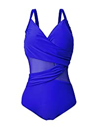American Trends Womens' See Through Tummy Control Bathing Suit Vintage One Piece