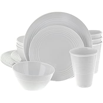 Handi-Ware 16-Piece Melamine Dinnerware Set Service for 4 Break \u0026 Chip Resistant Indoor/Outdoor Wave Rim Design by Unity (White)  sc 1 st  Amazon.com & Amazon.com | DII CNS82174 4 Piece Heavyweight Melamine Dinnerware To ...