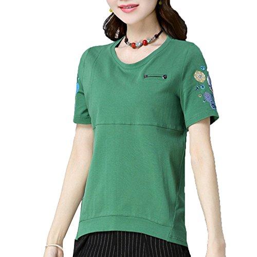 Las Cuello Algodón Chino Del Clásicas Cortocircuito Casuales Manga La Niais Señoras De Estilo Green Clásico Redondo Camisetas nPAxxzqT